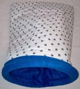 Muster Kuschelsack  Kleine schwarze Pfötchen auf weißem Untergrund, Innenseite Fleece, royal
