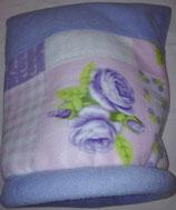 Muster Kuschelsack  Variante Flieder mit Einsatz, normal,Retromuster in lila, flieder, rosa, weiß und grün auf weißem Untergrund, mit Einsatz, Innenseite Fleece, flieder