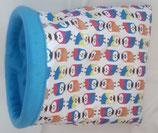 Muster Kuschelsack Eulen auf weiß, Baumwolle, Innenseite Fleece aqua-blau