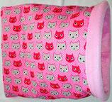 Muster Kuschelsack  Variante rosa normal,  Ein Katzentraum in pink, Baumwolle, Innenseite Fleece, rosa