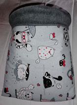 Kuschelsack , Fat Cats mit Schirm, Innenseite Fleece dunkel grau
