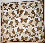 Raschelkissen Pandas braun, Wellnessfleece, Rückseite hellbraun ca 52x50 cm