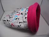 Kuschelsack KS023 bunte Yogakatzen, Innenseite Fleece pink