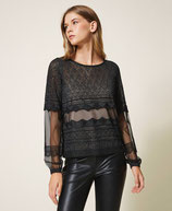Jersey de punto con encaje y tul negro TwinSet Milano