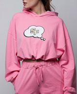 Sudadera con capucha crop SF rosa Space Flamingo
