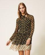 Vestido de crepé con estampado de cadenas TwinSet Milano