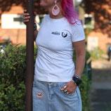 Damen T-Shirt weiß/grau mit kleinem Logoaufdruck