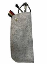 Fodero per occhiali in lana cotta di colore grigio, chiusura metallica