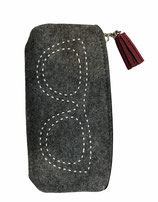 Fodero  per occhiali grigio in lana cotta, con nappina bordeaux