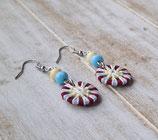 Zwirnknopf-Ohrringe blau-gelb-weinrot mit Glasperlen