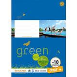 URSUS GREEN Heft FX18 A4 20 Blatt kariert 5 mm mit Korrekturrand