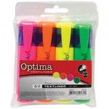 OPTIMA Textmarker 506 mit Keilspitze 1-5 mm 4 Stück mehrere Farben