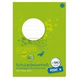 URSUS GREEN Schularbeitsheft FXSA1 A4 20 Blatt liniert 9mm mit Korrekturrand
