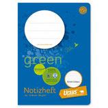 URSUS GREEN Notizheft A6 16 Blatt liniert 8 mm