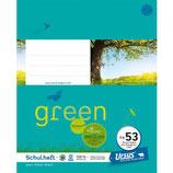 URSUS GREEN Heft FX53 Quart 40 Blatt liniert 10 mm mit Korrekturrand
