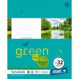 URSUS GREEN Heft FX32 Quart 20 Blatt liniert 10 mm mit Rahmen