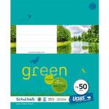 URSUS GREEN Heft FX52 Quart 40 Blatt liniert 10 mm mit Rahmen
