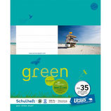 URSUS GREEN Heft FX35 Quart 20 Blatt liniert 10 mm mit Korrekturrand