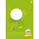 URSUS GREEN Schularbeitenheft A4 20 Blatt kariert 5 mm mit Korrekturrand