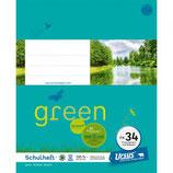 URSUS GREEN Heft FX34 Quart 20 Blatt kariert 5 mm mit Rahmen