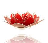 Chakren Teelichthalter, LotusLicht,  Capiz-Muschel, Silberand 13,5 cm, Teelichthalter Chakrenset klein 8 cm