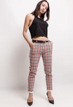 Pantalone quadrettato PFS  Corallo/Giallo