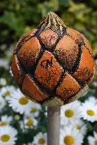 Keramikfrucht exotisch für Stab gelb-orange abgetönt