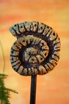 Kleine Keramikschnecke zum Aufstecken auf Stab hellgrau mit leicht türkisblau