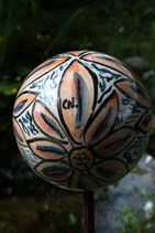 Keramikkugel handbemalt florales Dekor für Stab