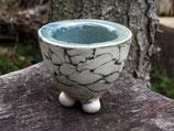 Kleines Keramikschälchen tiefere Form OHNE Abflussloch für Miniblümchen auf Fensterbank gedacht