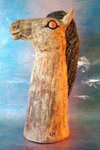 Pferdchen Pferdebüste aus Keramik für Stab mit leicht türkisbläulicher Mähne