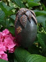 Keramik für Stab Eiform blau mit Blätterhäubchen