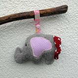 Rassel-Elefant Punkte rosa-rot