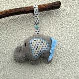 Rassel-Elefant Punkte hellblau