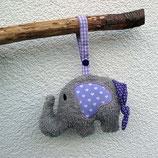 Rassel-Elefant Punkte Herzen lila