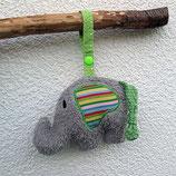 Rassel-Elefant Punkte grün-rot