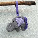 Rassel-Elefant Punkte Karo lila