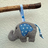 Rassel-Elefant Punkte Sterne hellblau