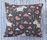 Kinder-Arvenkissen Einhorn grau-rosa