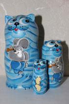 "Матрешка 3 места ""Котик с мышкой"""
