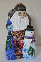 Дед Морозсо снеговиком (резной)