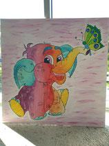 Geburtstafel Elefant bunt
