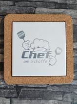Plättliuntersetzer mit Korkrahmen/ Chef