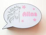 Sprechblase gross Pferd rosa