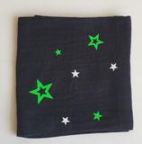 Noschi schwarz mit Neongrün/weisse Sterne