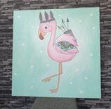 Geburtstafel Flamingo
