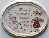 Geburtsplatte MÄDCHEN Dekor PGG (Pink Gelb Grün)