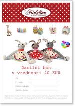 Darilni bon v vrednosti 40 Eur