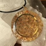 Orgone pendentif Fleur de Vie citrine - 4 cm avec fil