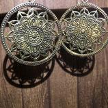 Boucles d'oreilles Mandala Lotus laiton doré